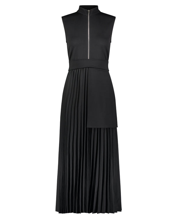 Pleated Zipper Dress