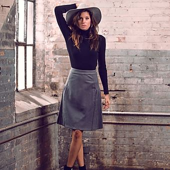 Grey Pleated Leather Skirt