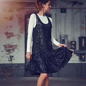 Sequin Pleat Dress