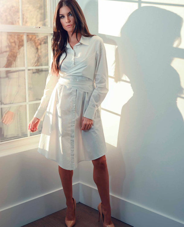 Wrap Shirt Dress - White