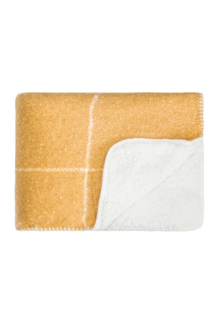 Sherpa grid blanket - mustard with cream grid pattern