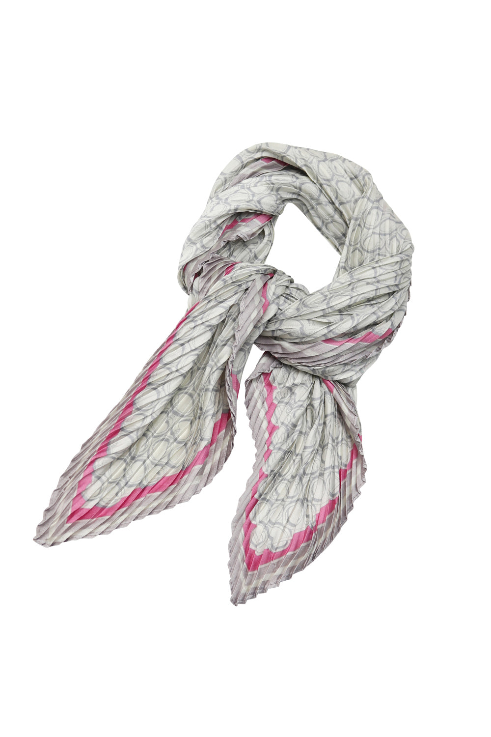 Scarf - Pink Edge Silver Circles