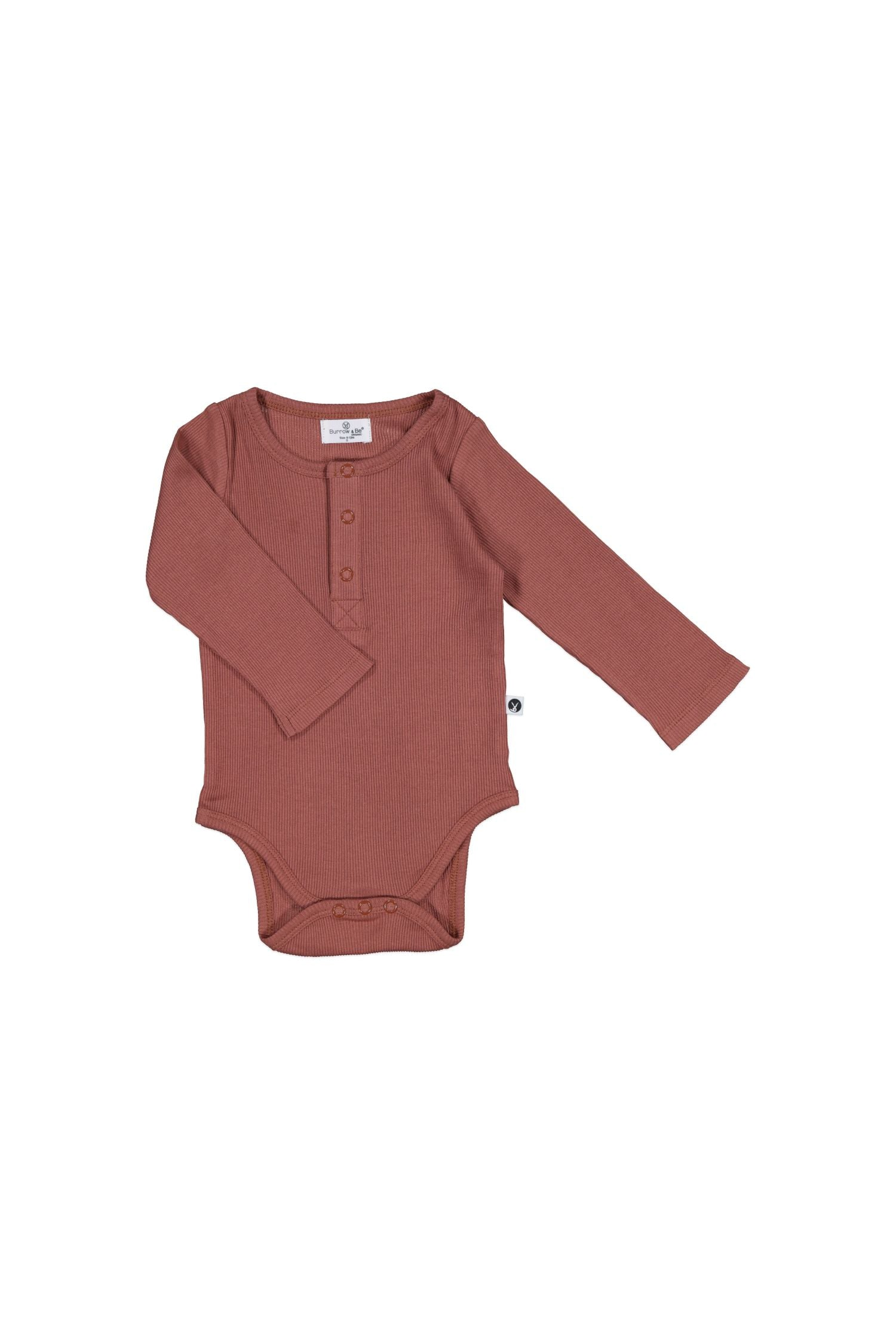 Rib Henley Body suit - Clay