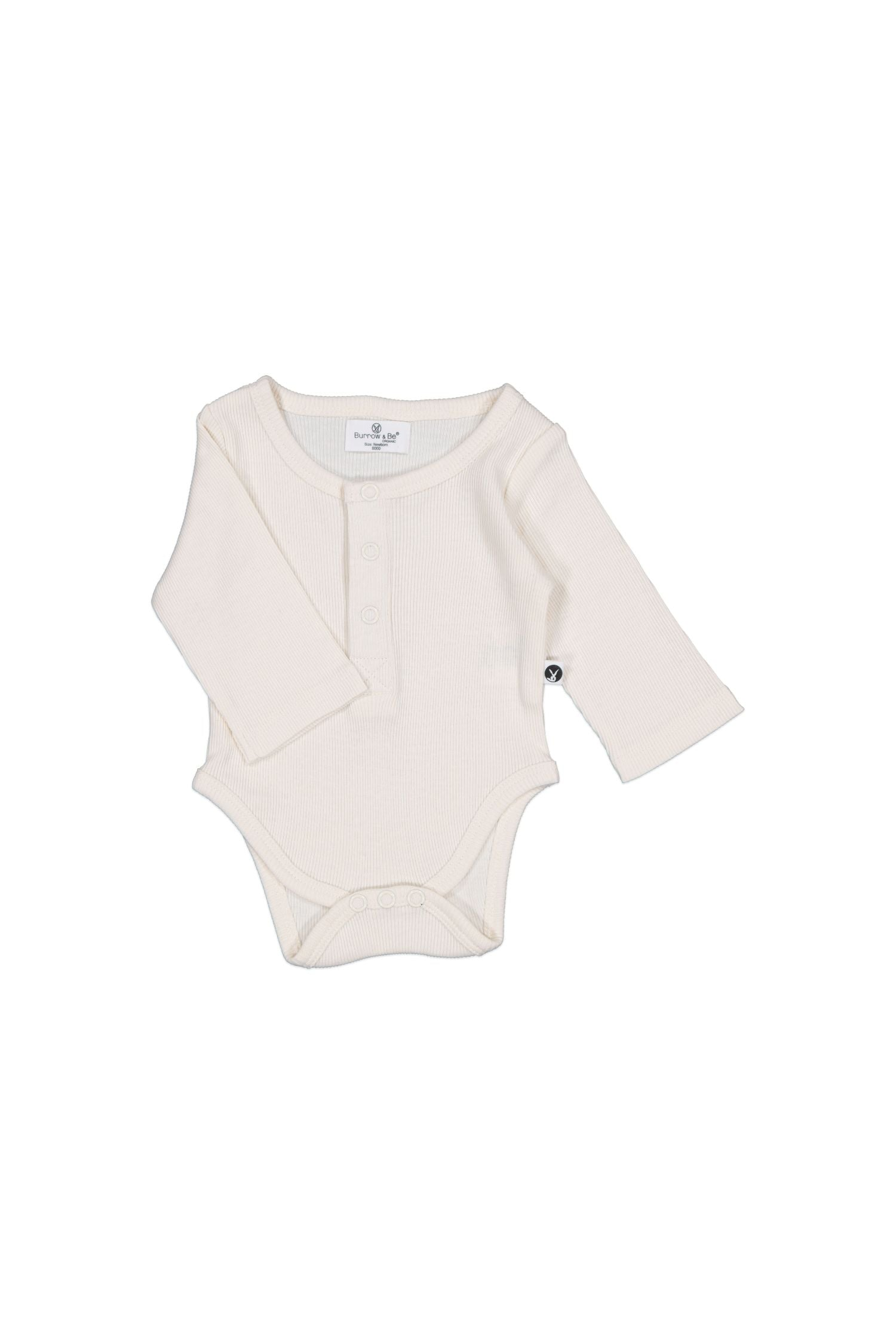 Rib Henley Body suit - Natural