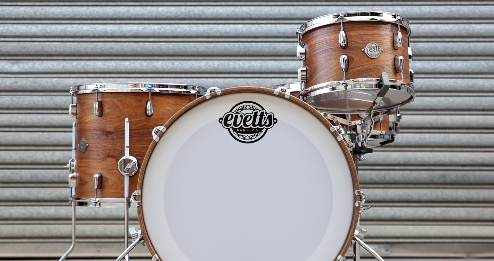 Evetts Handcrafted Bespoke Drum Kit Blackwood Shells Beavertail Lugs