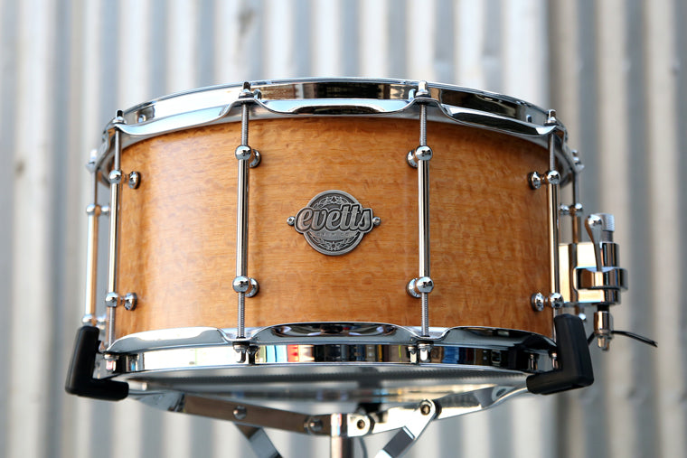 14x7 Jarrah ply Silky Oak veneer smooth satin snare drum, tube lugs, trick throw off