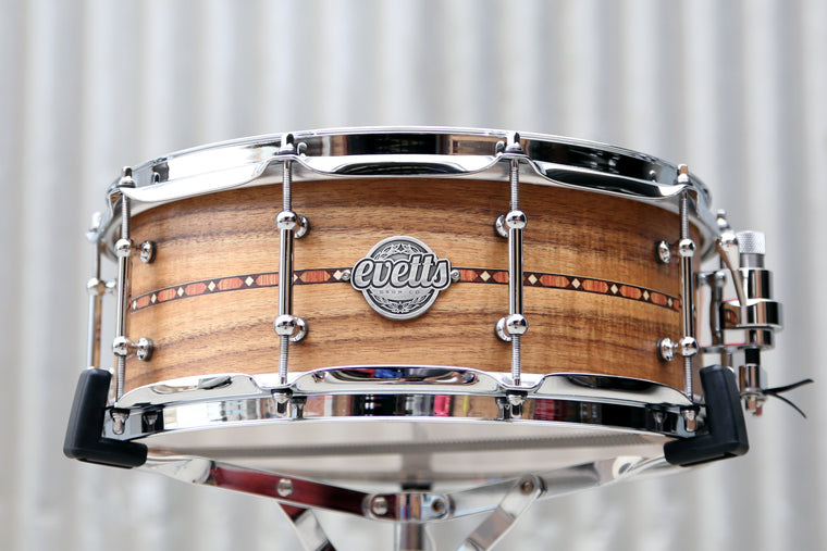 14x5.5 Tasmanian Blackwood snare drum, Natural Satin finish, inlay, tube lugs, trick throw off