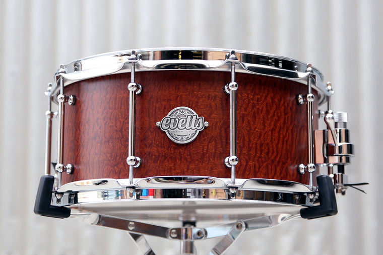 14x6.5 Tasmanian Blackwood ply Sapele Pommele veneer, smooth satin snare drum, tube lugs, trick throw off