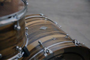 Evetts Handcrafted Bespoke Drum Kit Spotted Gum drum shells Black Limba veneer
