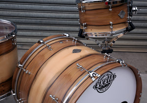 Evetts handcrafted Tasmanian Blackwood Drum Kit Blackheart Veneer