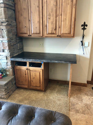 Ebony Stained Elm Slab Countertops