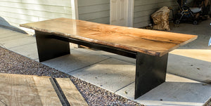 Oak Dining Table with Steel Base