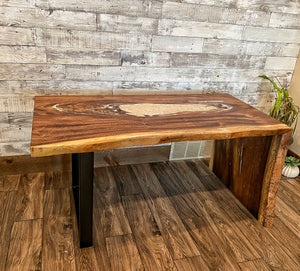 Monkey Pod Epoxy Desk with Waterfall Leg