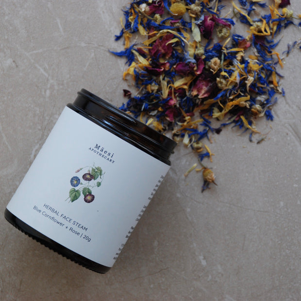 HERBAL FACE STEAM | Blue Cornflower + Rose-Herbal Skincare-Mäesi Apothecary