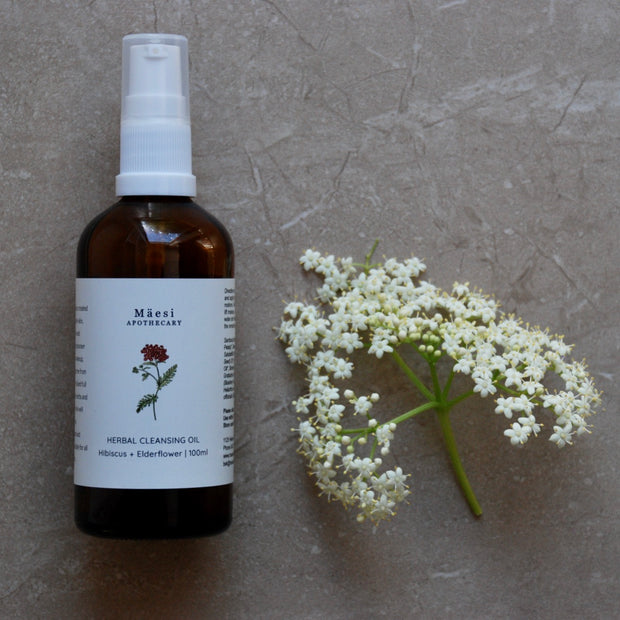 Herbal Cleansing Oil | with Elderflower + Hibiscus-Herbal Skincare-Mäesi Apothecary