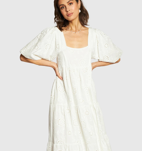 APERO THE LABEL Joy Anglaise Midi Dress - White  APERO LABEL  Klou Boutique