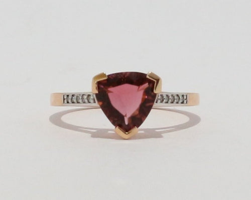 18ct Rose gold Trillion cut Pink Tourmaline & Diamond ring