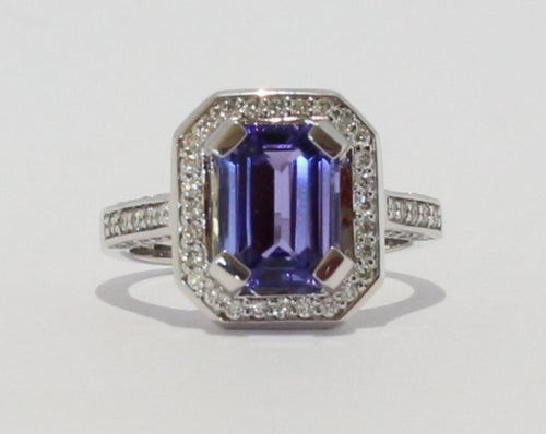 18ct White gold claw set Octagon cut Tanzanite & Diamond Ring