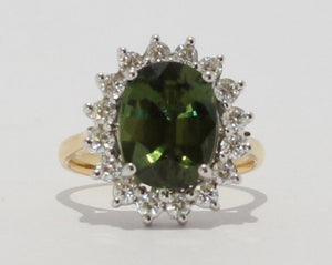 18ct Yellow & White gold Oval cut Green Sapphire & Diamond Cluster Ring