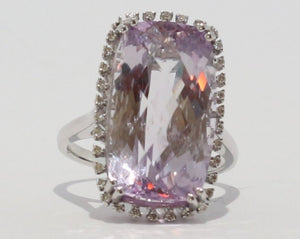 18ct White gold Fancy Cushion cut Kunzite & Diamond Cluster ring