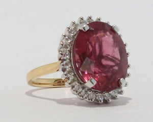 18ct Yellow & White gold Oval cut Pink Tourmaline & Diamond Cluster Ring