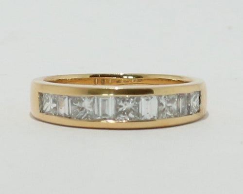 18ct Yellow Gold Princess cut & Baguette cut Diamond Band