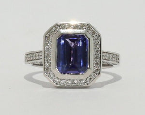 18ct White gold Bezel set Octagon cut Tanzanite & Diamond Ring