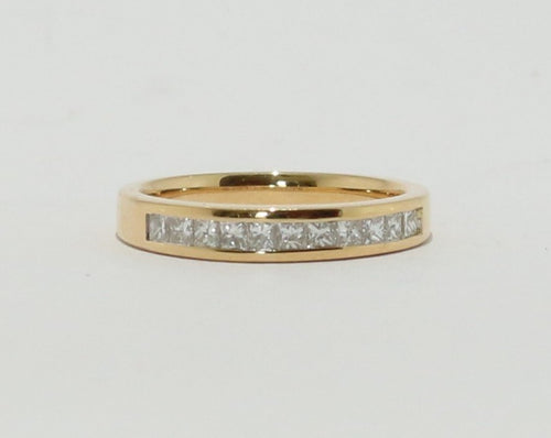 18ct Yellow Gold Princess cut Diamond Channel set Band
