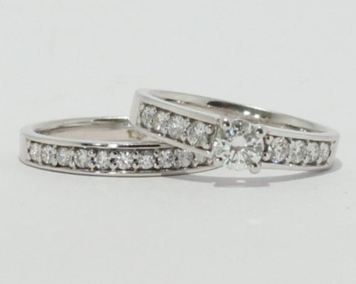 18ct White Gold Diamond Engagement and Wedding set