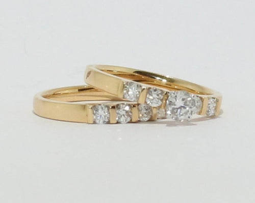18ct Yellow & White Gold Diamond Engagement and Wedding set