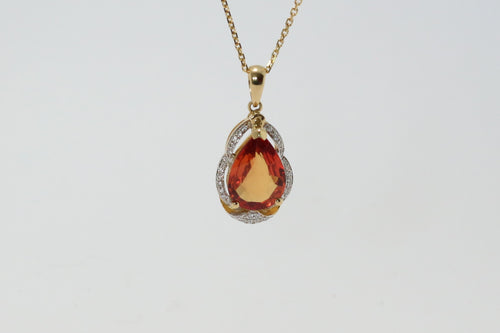 18ct Yellow Gold Orange Sapphire & Diamond Pendant