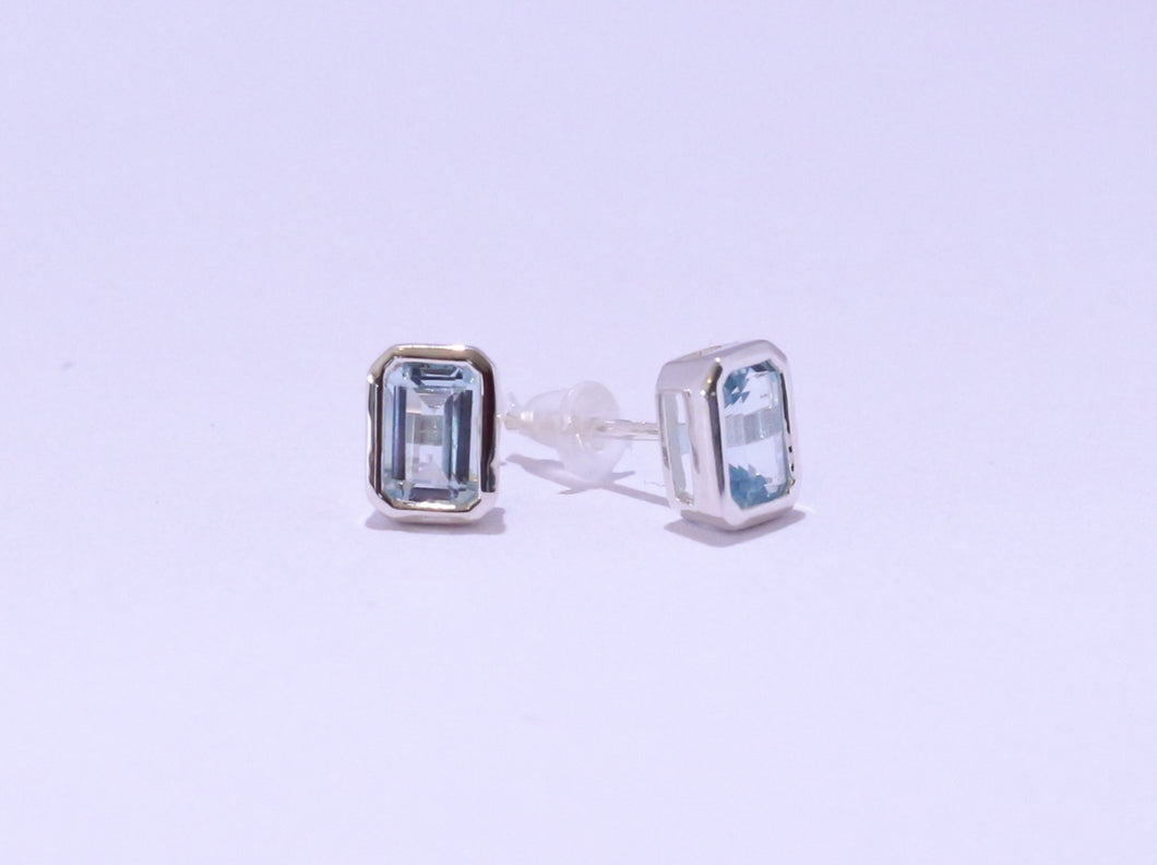 925 Topaz Octagon Bezel set Stud Earrings (7.4x5.5 Diameter)
