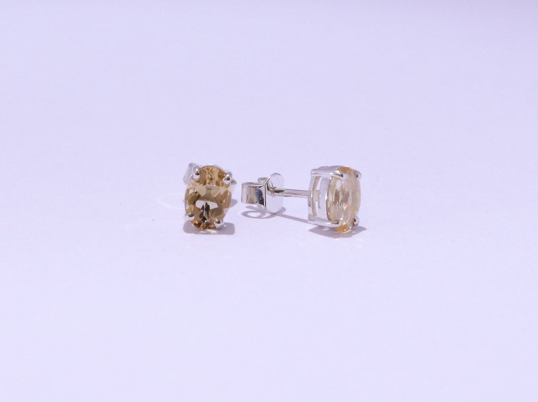 925 Yellow 7x5mm Oval Citrine 4-claw set Stud Earrings