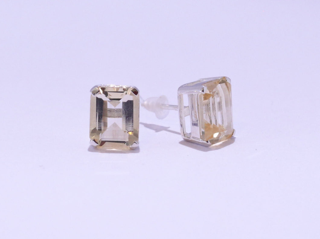 925 Yellow 10x8mm Octagon Citrine 4-claw set Stud Earrings