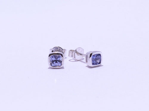 925 Synthetic Sapphire Cushion-cut Bezel set Stud Earrings (5.3mm Diameter)