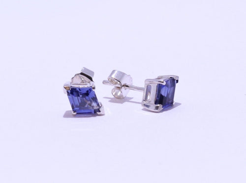 925 Synthetic Sapphire 9x6.8mm Lozenge-cut 4-claw set Stud Earrings