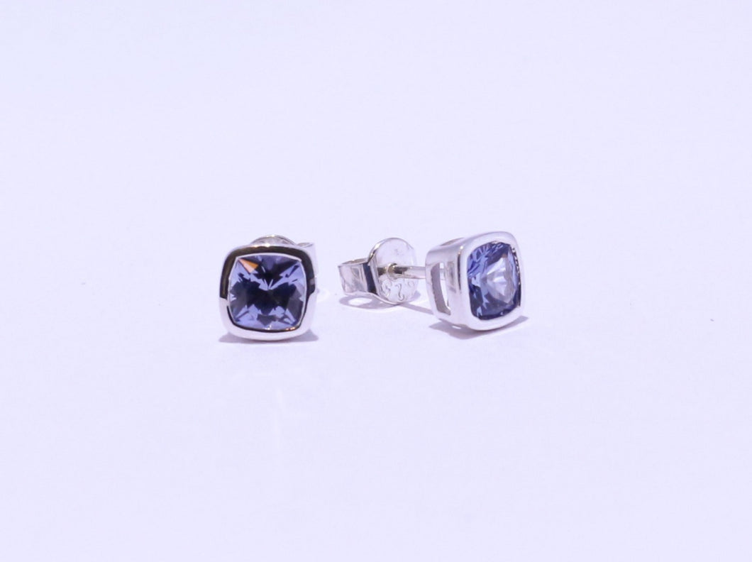 925 Synthetic Sapphire Cushion-cut Bezel set Stud Earrings (6.4mm Diameter)