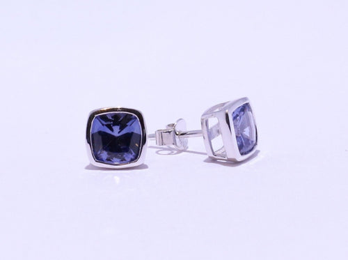 925 Synthetic Sapphire Cushion-cut Bezel set Stud Earrings (8.5mm Diameter)
