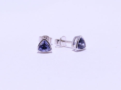 925 Synthetic Sapphire Trillion-cut Bezel set Stud Earrings (6mm Diameter)
