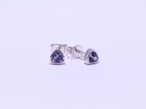 925 Synthetic Sapphire Trillion-cut Bezel set Stud Earrings (5mm Diameter)