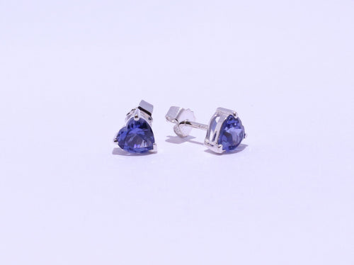 925 Synthetic Sapphire 6.8x6.5mm Heart Shape 4-claw set Stud Earrings