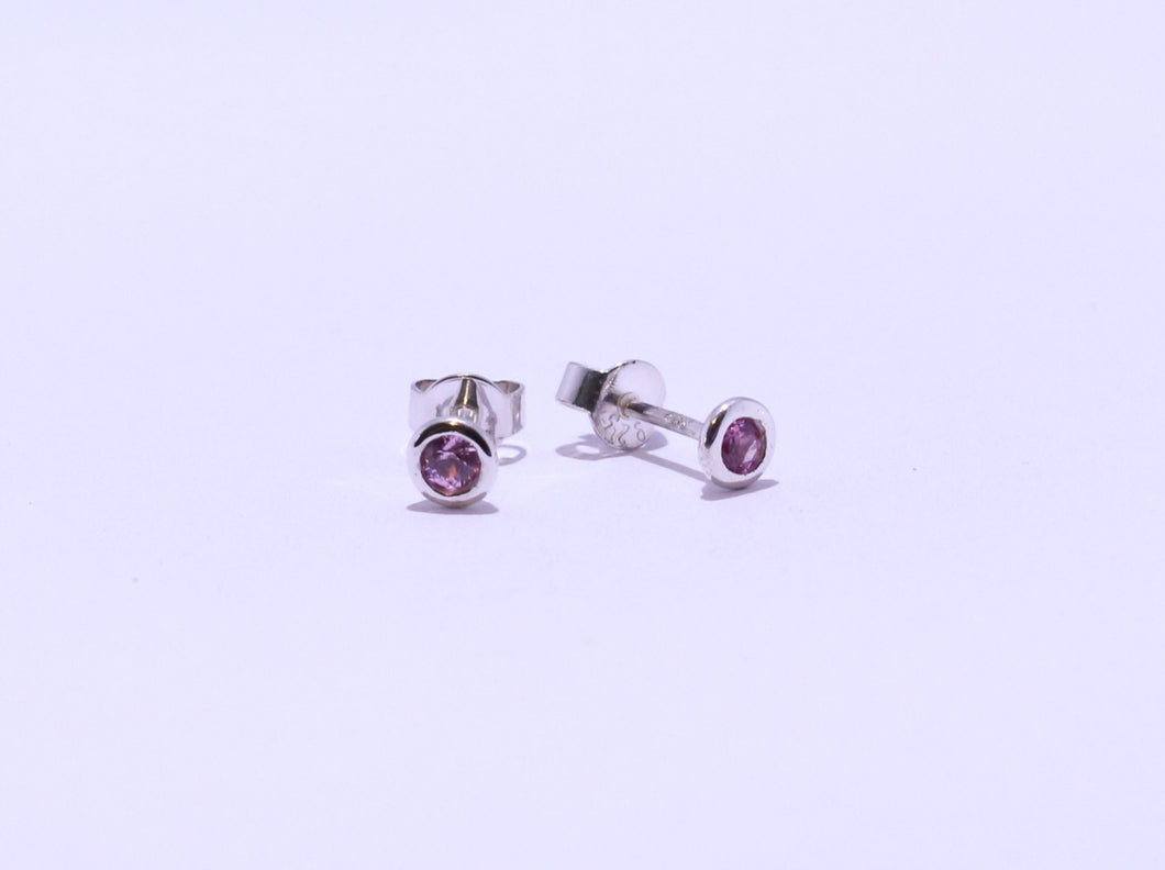 925 Pink round CZ Bezel set Stud Earrings (4.5mm Diameter)