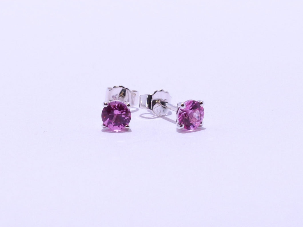 925 Pink 4.75mm round CZ 4-claw set Stud Earrings