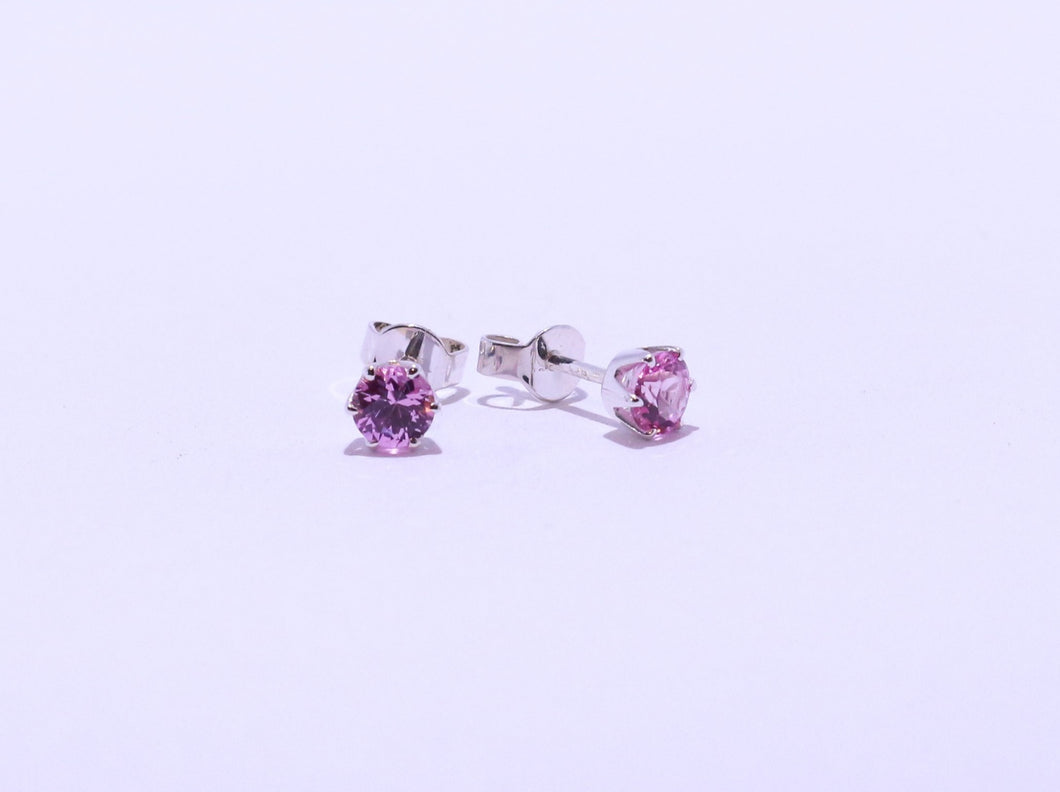 925 Pink 4.5mm round CZ 6-claw set Stud Earrings