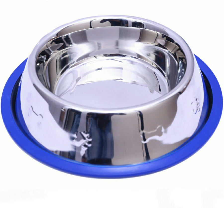 Set of 2 Etched Stainless Steel Dog Bowls with Blue Silicone Base - Mr. Peanut's Airline Approved Pet Carriers