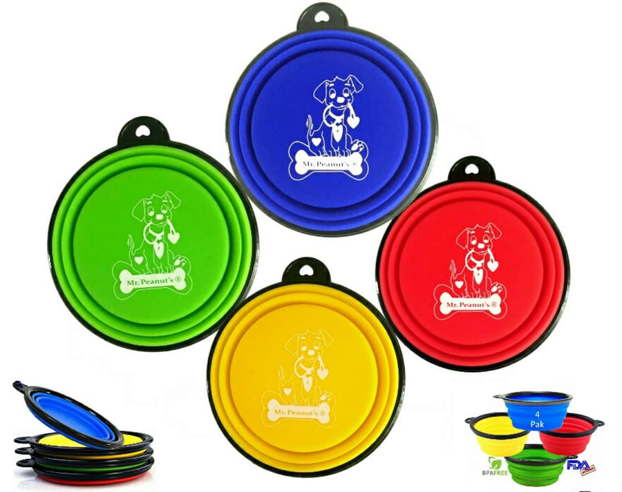 4 Pak Collapsible Travel Bowls for Cats & Dogs - Mr. Peanut's Airline Approved Pet Carriers