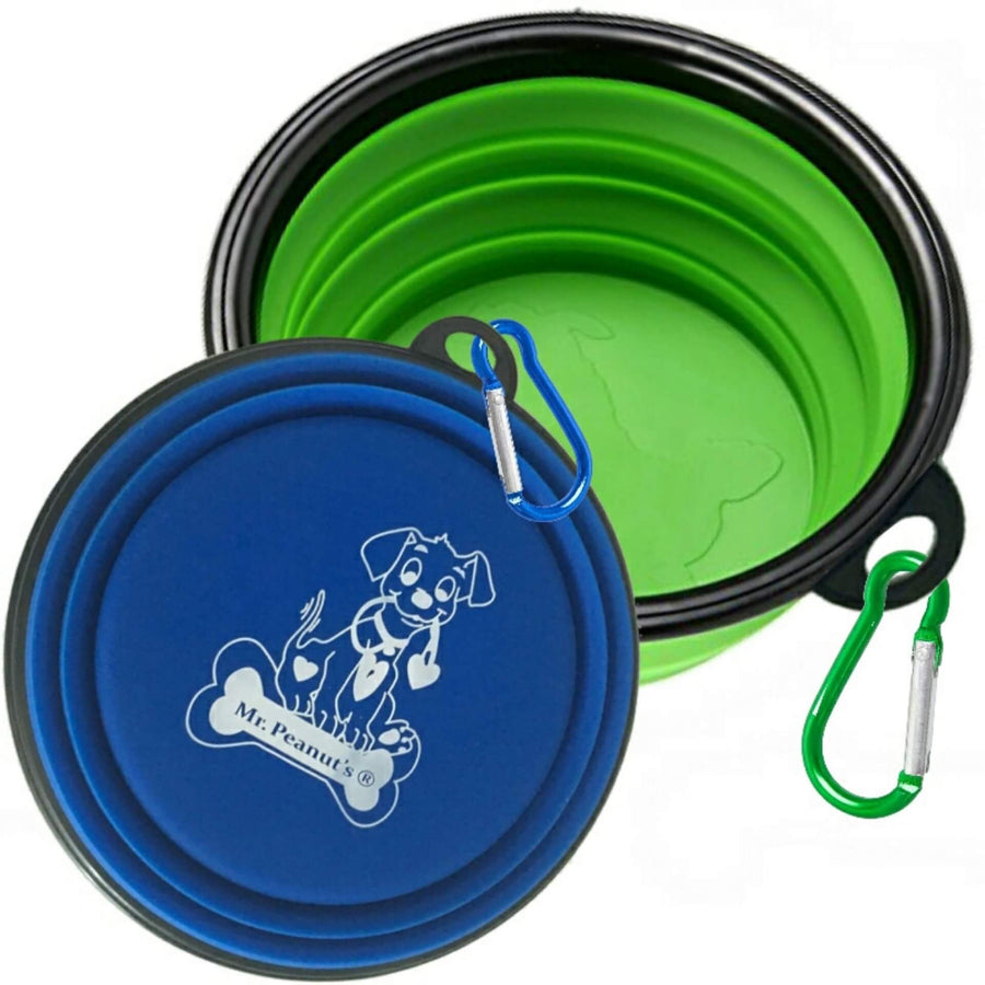 2 Pak XL 34oz Collapsible Travel Bowls for Larger Pets - Mr. Peanut's Airline Approved Pet Carriers
