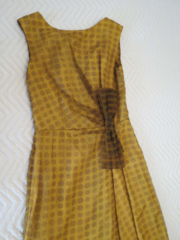 vintage 1960s dress brown chiffon with polka dots and bow