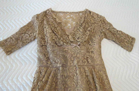 vintage 1950s brown alencon lace dress