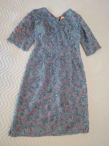 vintage 1950s 1960s blue ribbon rosette dress